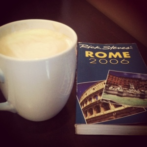 Delicious Cafe Au lait and reading at Pound