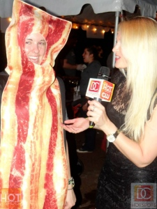 That is me interviewing a human piece of bacon for DC Hot Spots  Photo by Brian J. Silver