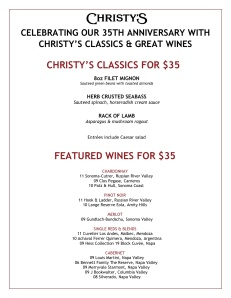 Christys 35year menu with wine