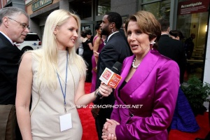Interviewing Nancy Pelosi at a red carpet event at Ford's Theatre in DC