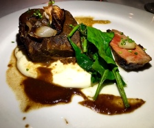 24 Hour Braised Shortrib, Prime NY Strip, Caramelized Pearl Onion Soubise, Potatoes Aligot