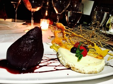 Goat Cheese Cheesecake, Poached Pear
