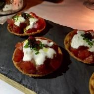 Blue Fin Tuna, Crispy Wonton, Caper Shallot Cream, Osetra Caviar
