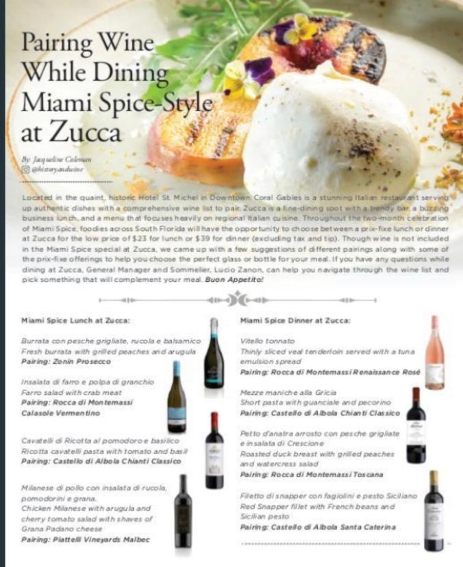 Miami Spice Wine pairings at Zucca Miami