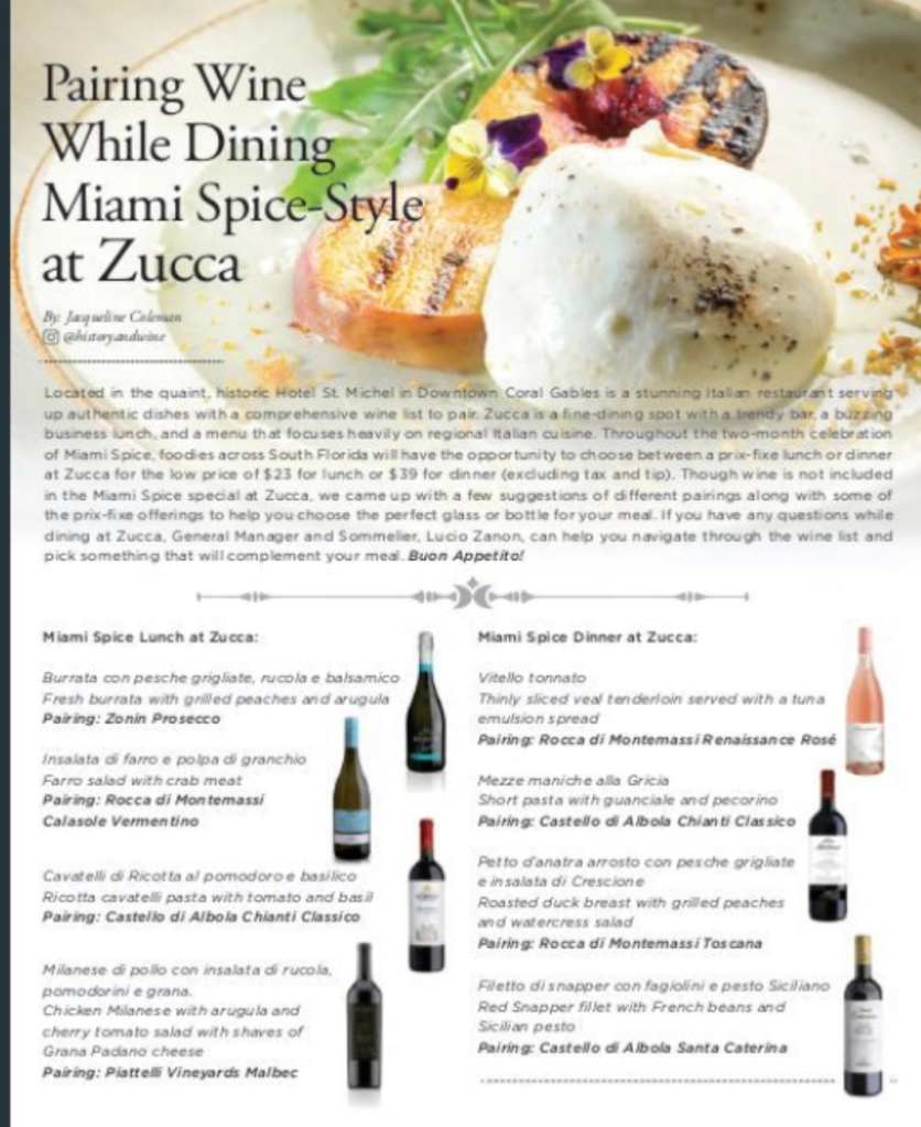 Miami Spice Wine pairings at Zucca Miami