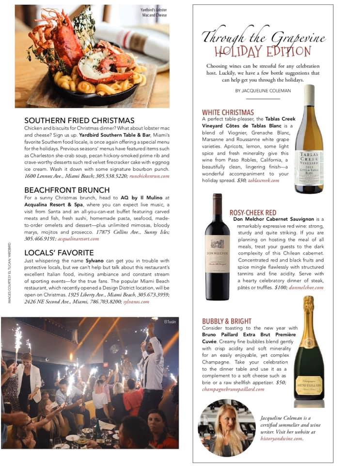 "Check out South Florida Luxury Guide Magazine & my ""Through the Grapevine"" Article"